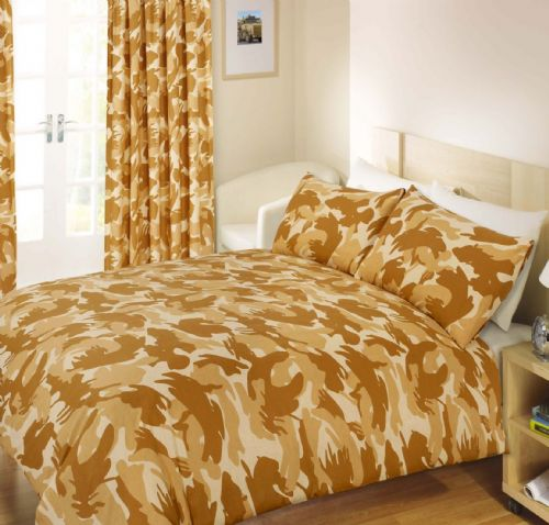 NATURAL BEIGE COLOUR ARMY CAMOUFLAGE PRINT DESIGN REVERSIBLE BEDDING DUVET COVER